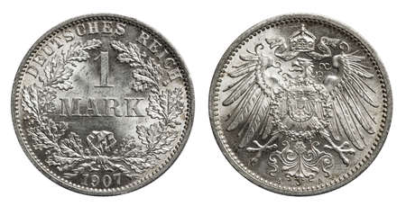 Silver mark coin Germany 1907, conservation in mint Standard-Bild - 120358132