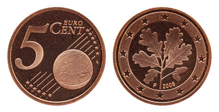 German five euro cent Germany coin, front side 5 and world globe, backside oak leaf, copper