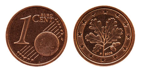 German five euro cent Germany coin, front side 1 and world globe, backside oak leaf, copper