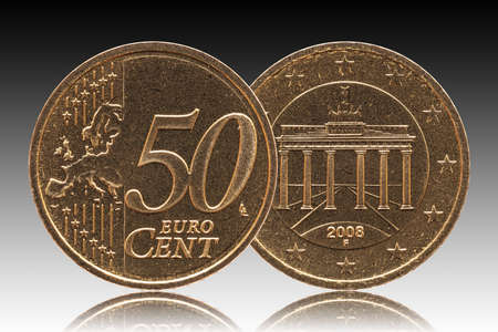 German 50 euro cent Germany coin, front side 50 and europe, backside Brandenburg Gate, brass, background gradient