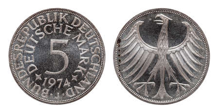 Germany german coin five 5 marks, circulation coin, silver , minted 1974