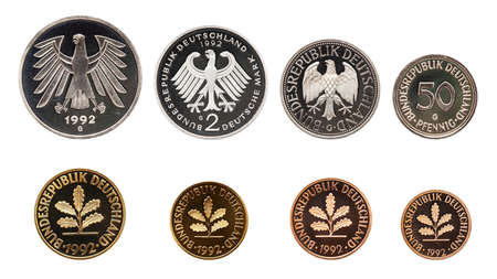 Germany German mark coins set, isolated on white