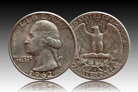 United States money quarter dollar coin silver,gradient background