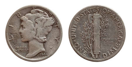 Dime ten cents US coin silver both sides isolated on white