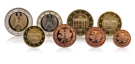 Full set of euro coins europe germany, gradient background Standard-Bild