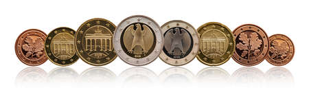 Full set of euro coins europe germany, gradient background Stock fotó