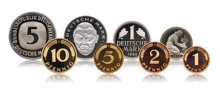 Germany German pfennig mark coins set, isolated on white
