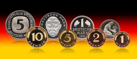 Germany German pfennig mark coins set, gradient background Standard-Bild