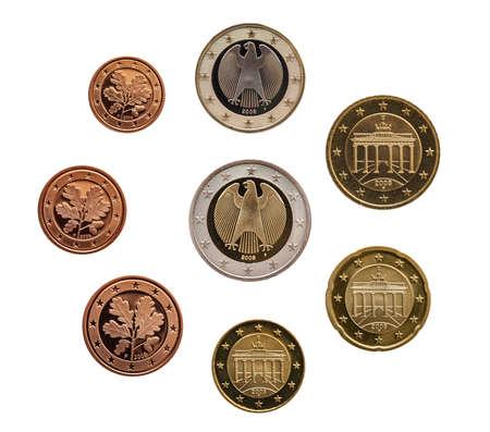 Full set of euro coins europe germany isolated on white background