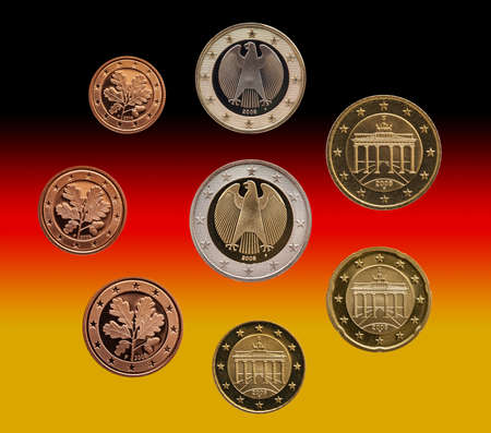 Full set of euro coins europe germany isolated on gradient background