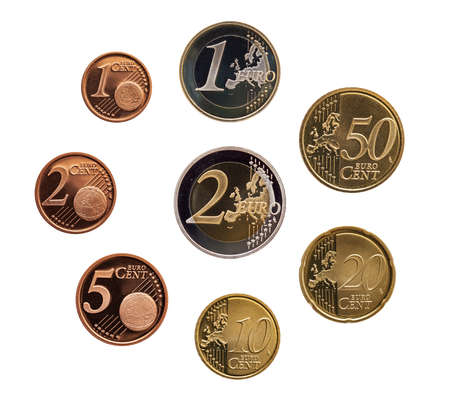Full set of euro coins europe germany isolated on whtie background