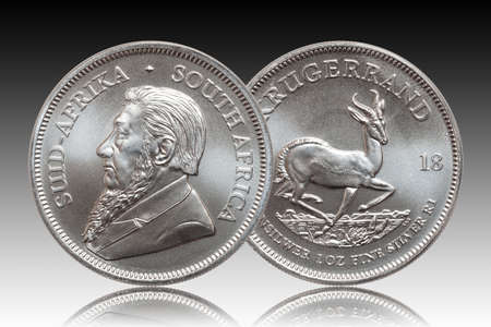 South African Krugerrand 1 ounce silver bullion coin gradient background