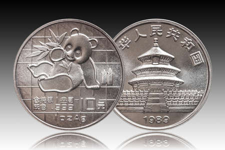 China Panda 10 ten yuan silver coin 1 oz 999 fine silver ounce minted 1989, gradient backgriound