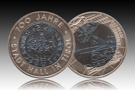 Austria silver niob coin 25 twenty five euros minted 2003 isolated on gradient background
