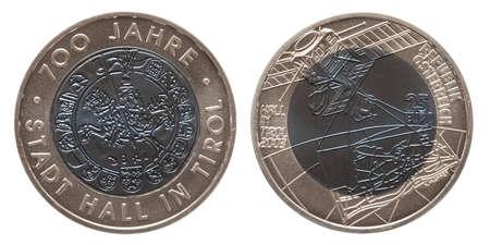 Austria silver niob coin 25 twenty five euros minted 2003 isolated on white background