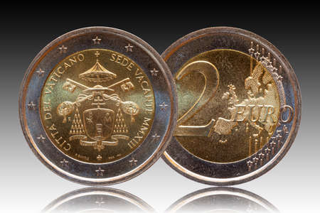 Vatican 2 two euro commemorative coin minted 2013 isolated on gradiente background