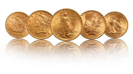 US gold coins twenty dollar double eagle indian head, isolated on white background Stok Fotoğraf
