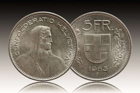 Switzerland Swiss coin 5 five franc 1965 silver isolated on gradient background