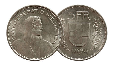 Switzerland Swiss coin 5 five franc 1965 silver isolated on white background