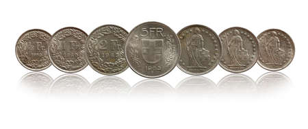 Switzerland Swiss coins silver isolated on white background
