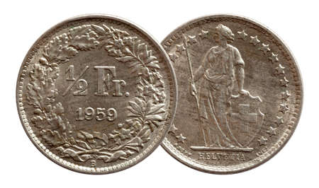 Switzerland Swiss coin half franc 1959 silver isolated on white background
