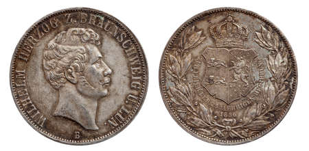 Germany german silver coin 2 two thaler double thaler Brunswick and Lueneburg minted 1856 isolated on white background