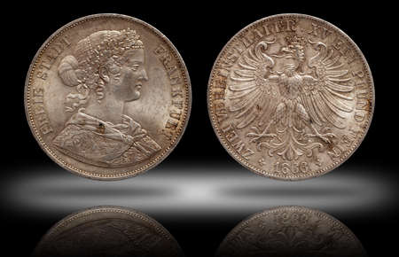 Germany german silver coin 2 two thaler double thaler frankfurt minted 1866 isolated on shadow background