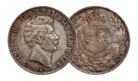 Germany german silver coin 2 two thaler double thaler Brunswick and Lueneburg minted 1856 Standard-Bild