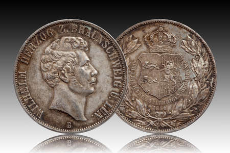 Germany german silver coin 2 two thaler double thaler Brunswick and Lueneburg minted 1856 isolated Standard-Bild