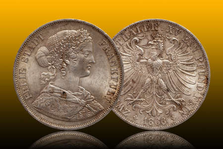 Germany german silver coin 2 two thaler double thaler frankfurt minted 1866 isolated on gradient background Stock fotó