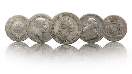 Germany german silver coins thaler prussia isolated on white background