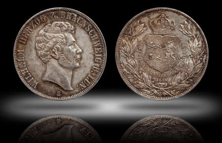 Germany german silver coin 2 two thaler double thaler Brunswick and Lueneburg minted 1856 Stock fotó