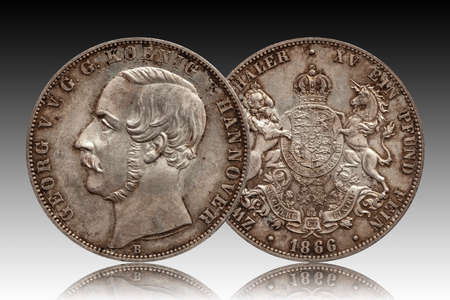 Germany german silver coin 2 two thaler double thaler Hannover minted 1866 isolated on gradient background Standard-Bild