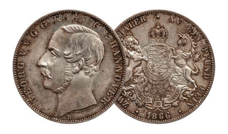 Germany german silver coin 2 two thaler double thaler Hannover minted 1866 isolated on white background Stock fotó