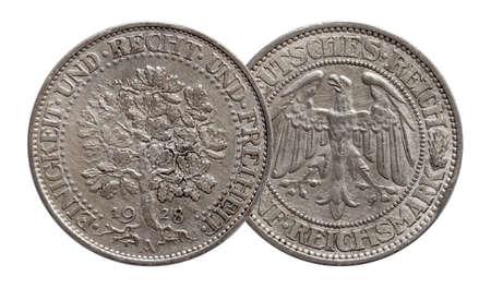 Germany German silver coin 5 five mark oak tree Weimar Republic Standard-Bild