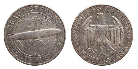 Germany German silver coin 5 five mark zeppelin Weimar Republic