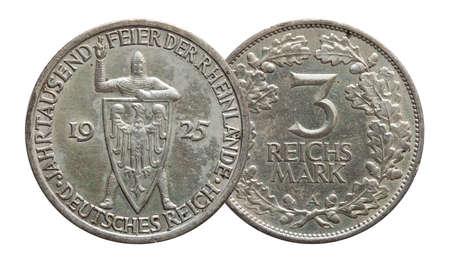 Germany German silver coin 3 three mark Rhineland celebration Weimar Republic, isolated on white