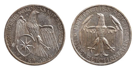 Germany German silver coin 3 three mark unification waldeck with prussia Weimar Republic isolated on white