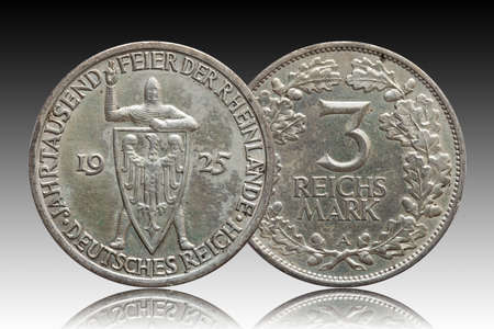 Germany German silver coin 3 three mark Rhineland celebration Weimar Republic, isolated on gradient