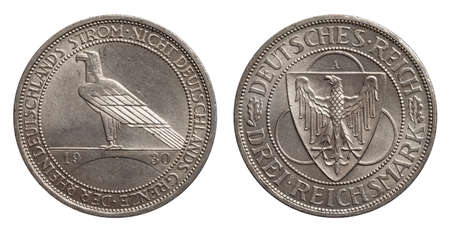 Germany German silver coin 3 three mark Rhine 1930 Weimar Republic isolated on white Stock fotó