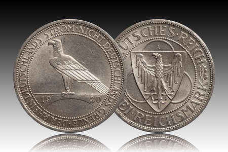 Germany German silver coin 3 three mark Rhine 1930 Weimar Republic isolated on gradient background