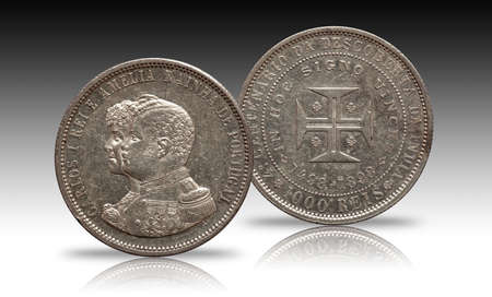Portugal silver coin thousend 1000 reis minted 1898 Carlos and Amelia