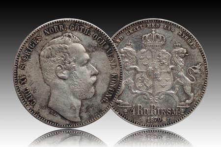 Sweden Norway silver coin four 4 thaler rigsdaler minted 1870 Carl XV Standard-Bild