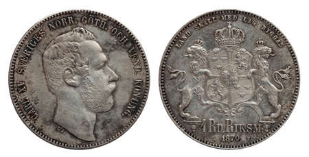 Sweden Norway silver coin four 4 thaler rigsdaler minted 1870 Carl XV isolated on white Stock fotó