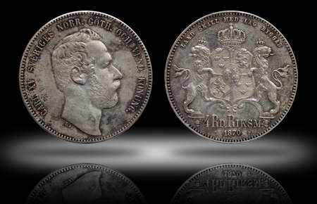 Sweden Norway silver coin four 4 thaler rigsdaler minted 1870 Carl XV, condition fine