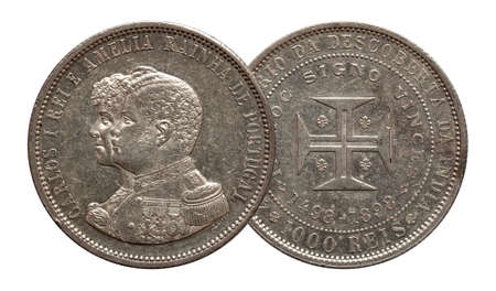 Portugal silver coin thousand 1000 reis minted 1898 Carlos and Amelia