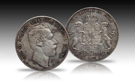 Sweden Norway silver coin four 4 thaler rigsdaler minted 1870 Carl XV 写真素材