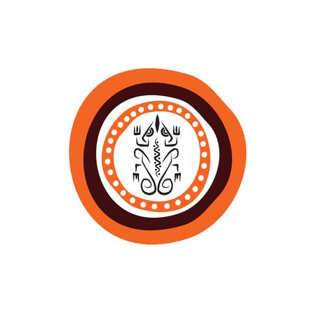 Aboriginal art icon logo design vector template