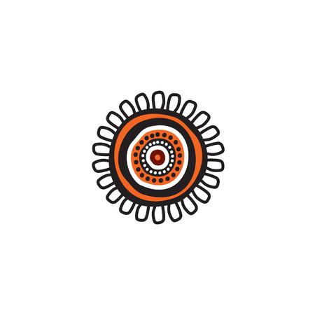 Modèle vectoriel de conception de logo d'icône d'art aborigène