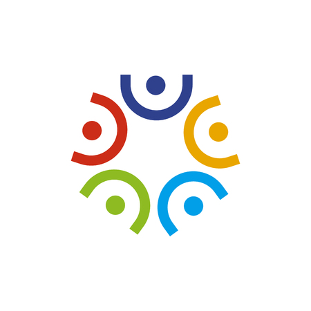Modello di vettore di progettazione del logo per la cura della comunità e dell'adozione